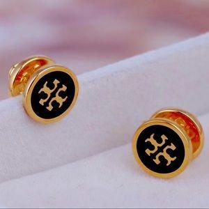 Tory Burch black & gold logo stud earrings